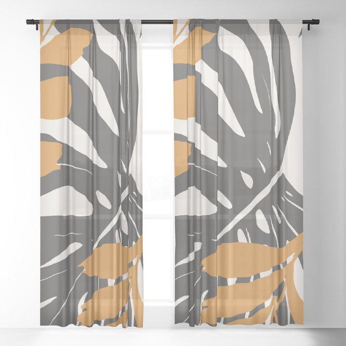 Abstract Monstera 3 Sheer Curtain