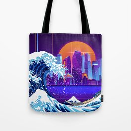 Synthwave Space: The Great Wave off Kanagawa #5 Tote Bag