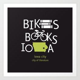 Bikes Books Iowa Art Print