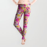 austin Leggings featuring Local Color Yellow Pink by Jacqueline Maldonado