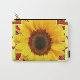 WESTERN RED ART DECO YELLOW SUNFLOWER ART Carry-All Pouch