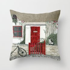 Red Door Cottage Throw Pillow