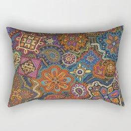 Crewel Jewel Floral by Nettie Heron-Middleton Rectangular Pillow