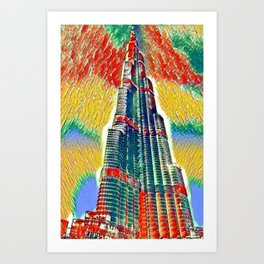 Colorful Burj Khalifa painting Art Print