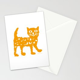 Orange cat illustration, cat pattern Stationery Cards