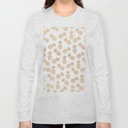 Modern blush brown tropical summer fruit pineapple Long Sleeve T-shirt