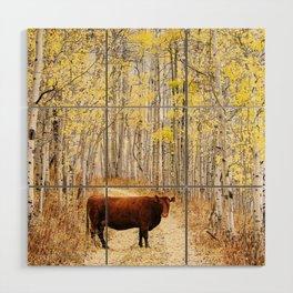 Cow in aspens Wood Wall Art