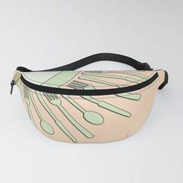 Fine dining in green and peach Fanny Pack