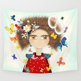Doll Butterfly Balloons Afro Hair Flowers Wall Tapestry