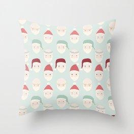Santas - Mint Throw Pillow