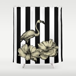 Stripe Flamingo Shower Curtain
