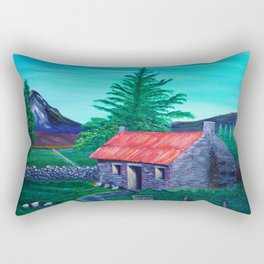 Red Roof Cottage Rectangular Pillow