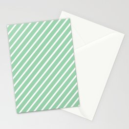 Mint Green Tight Stripes Stationery Cards