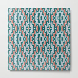 Tribal Diamond Pattern in Teal, Coral and Gray Metal Print