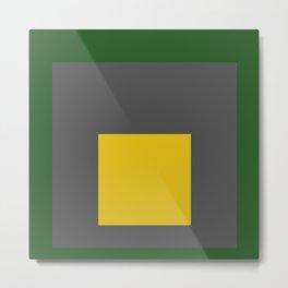 Block Colors - Green Grey Yellow Metal Print