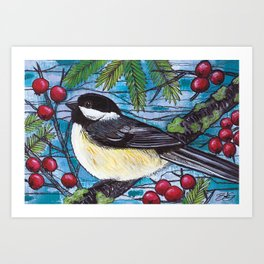 Yuletide Chickadee Art Print