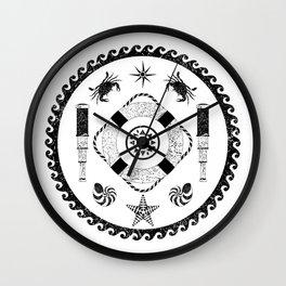 Nautical circle black and white poster Wall Clock