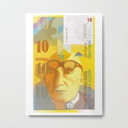 10 Swiss Francs note bill- front side Metal Print