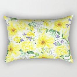 watercolor pattern yellow roses Rectangular Pillow