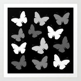 Monochrome Butterflies Art Print