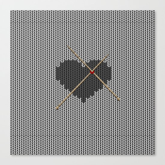 Original Knitted Heart Design Canvas Print