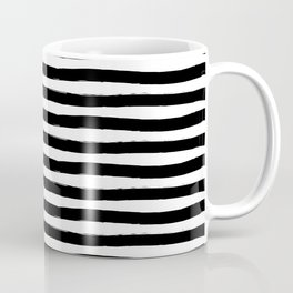 Black And White Hand Drawn Horizontal Stripes Coffee Mug