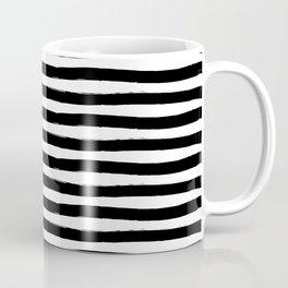 Black And White Hand Drawn Horizontal Stripes Coffee Mug