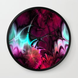 Psychedelic Waves (amaranth) Wall Clock