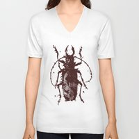 beetle V-neck T-shirts featuring Beetle by Bearded Hunter