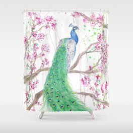 """Watercolor Painting of Picture """"Peacock"""" Shower Curtain"""