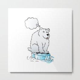 Polar bear on an ice floe Metal Print