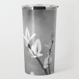 Black and White Nature Photography, Dark Grey Tree Branches, Gray Neutral Botanical Branch Leaves Travel Mug