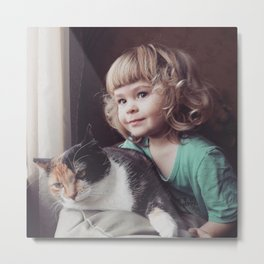 Little girl with cat Metal Print