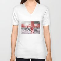 roller derby V-neck T-shirts featuring Punchtuation Roller Derby by Vin Zzep
