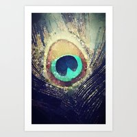 peacock feather Art Prints featuring Peacock Feather  by Love2Snap
