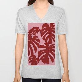 Monstera plant print - Dora Pink Unisex V-Neck