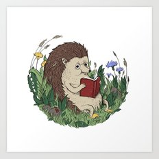 Hedgehog Reading A Book Art Print