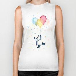 Birthday Panda Balloons Cute Animal Watercolor Biker Tank