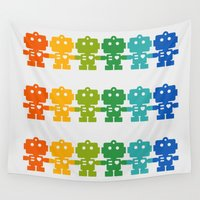 robots Wall Tapestries featuring Rainbow Robots Holding Hands by XOOXOO