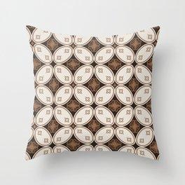 Brown and white batik shower curtain Throw Pillow