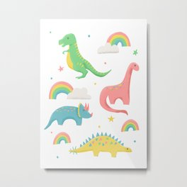 Dinosaurs + Rainbows in Pink Metal Print