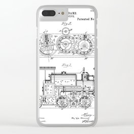 Steam Train Patent - Steam Locomotive Art - Black And White Clear iPhone Case