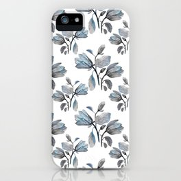 Modern Magnolia Blossoms in Teal and Dusty Blue iPhone Case