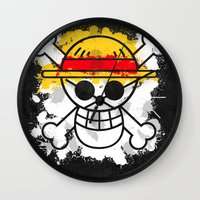 luffy Wall Clocks featuring Straw Hat Pirates by rKrovs