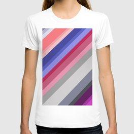 grey blue pink purple stripes T-shirt