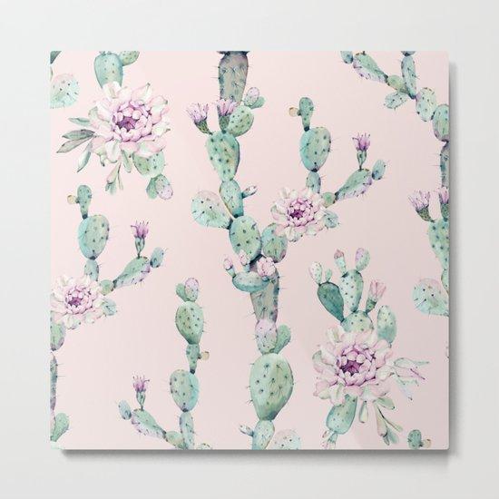 Cactus Rose Pattern on Pink Metal Print