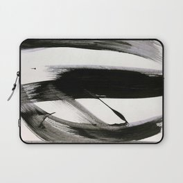 Brushstroke 9: a bold, minimal, black and white abstract piece Laptop Sleeve
