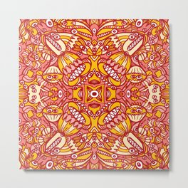 Red and yellow pattern design full of weird fantastic creatures Metal Print