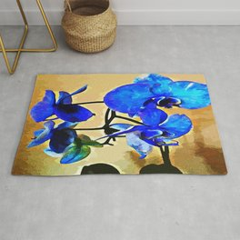 Painted Blue Orchid Rug