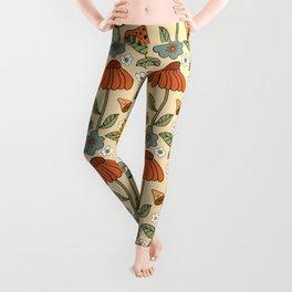 70s Psychedelic Mushrooms & Florals Leggings